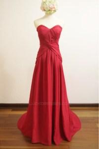 A-Line Sweetheart Long Red Chiffon Bridesmaid Dresses ...
