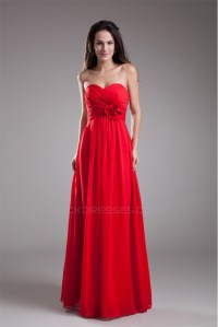 Handmade Flowers Sleeveless Sheath/Column Long Red Chiffon