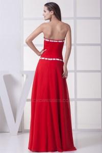 A-Line Strapless Satin Chiffon Sleeveless Long Red ...
