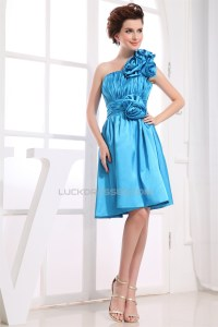 One-Shoulder Sleeveless Silk like Satin Short Blue ...