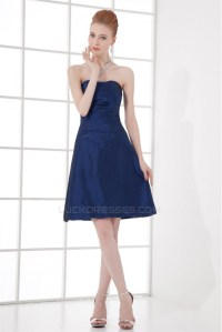 A-Line Strapless Taffeta Soft Short Blue Bridesmaid ...