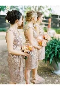 Short V-Neck Sequins Bridesmaid Dresses 3010006
