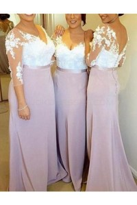 3/4 Length Sleeves V-Neck Lace Long Wedding Guest Dresses ...