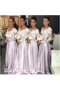 Long Sleeves Lace Wedding Guest Dresses Bridesmaid Dresses ...