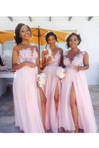 Long Pink Lace Appliques Chiffon Wedding Guest Dresses ...