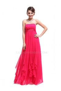 Long Pink Strapless Chiffon Prom Evening Formal Party