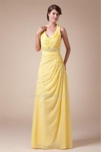 Halter Sleeveless Beading Chiffon Long Yellow Prom Evening ...