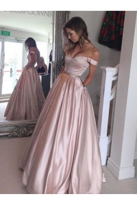 Ball Gown Off-the-Shoulder Beaded Prom Dresses Party ...