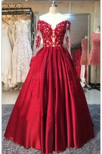 Long Sleeves Lace Satin Off-the-Shoulder Prom Dresses ...