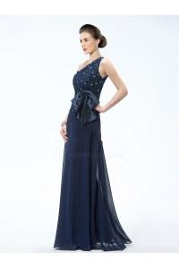 Elegant One-Shoulder Long Navy Blue Mother of the Bride ...