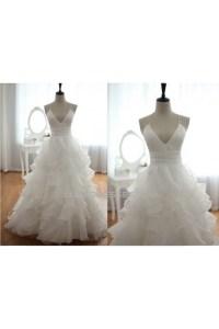 Ball Gown V-neck Spaghetti Strap Bridal Gown Wedding Dress ...