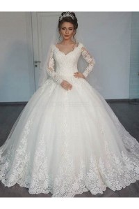 Bridal Ball Gown V-Neck Lace Long Sleeves Wedding Dresses ...