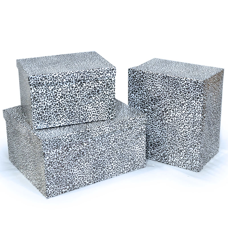 Rect Large Gift Box with Lid Set of Three - Designer II Snow Leopard - large gift boxes with lids