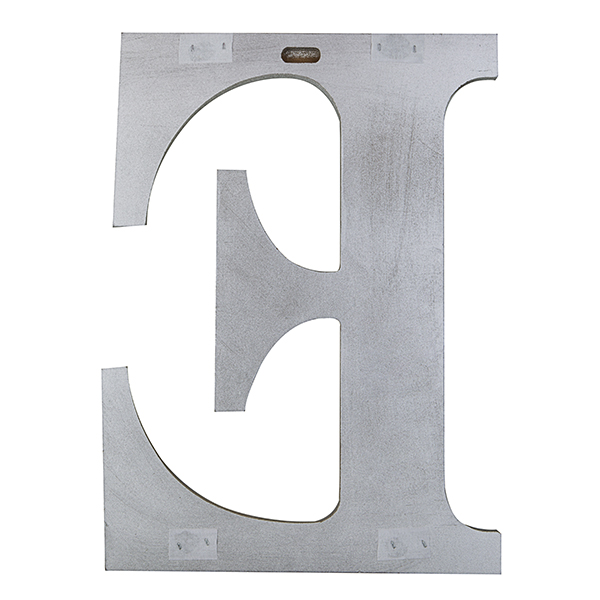 Wood Block Letter - Metallic Silver with Gold Tones 24in - E The