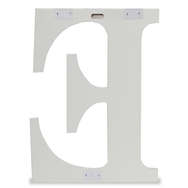 Wood Block Letter - Painted White 24in - E The Lucky Clover Trading Co