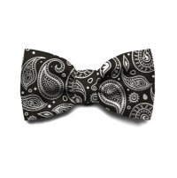 Zee Black & White Paisley Bow Tie for Cats and Dogs