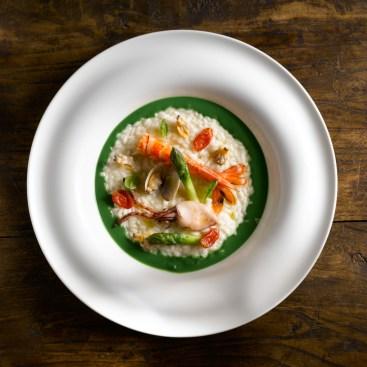 Riso di Sibari, asparagi, frutti di mare e bergamotto di Reggio Calabria