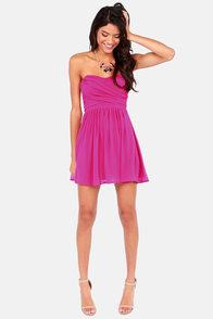 LULUS Exclusive Sash Flow Strapless Magenta Dress