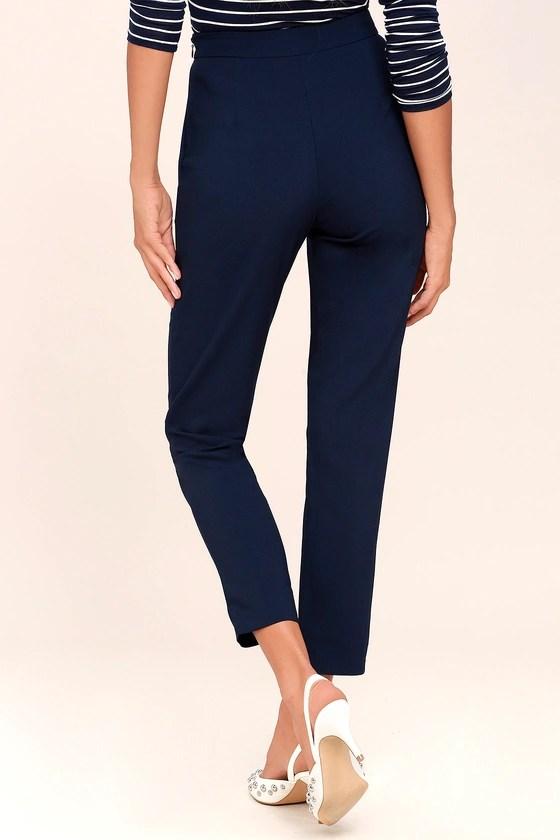 Chic Navy Blue Pants - Trouser Pants - Dress Pants