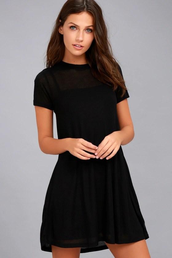 RVCA Knockout Dress - Black Swing Dress - Ribbed Knit Dress