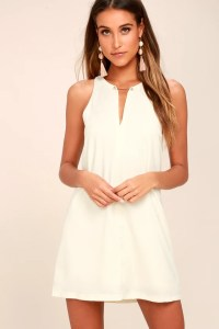 Chic Cream Dress - Cream Shift Dress - Gold Bar Dress