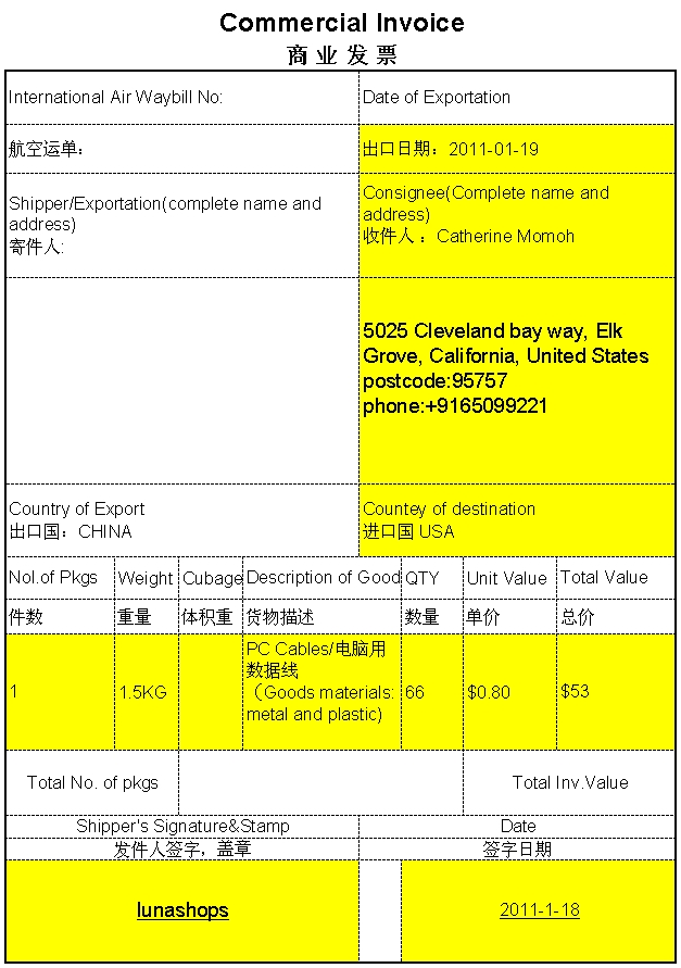 Commercial Invoice Copy Of Lunashops_SupportReview_Lunashops - online commercial invoice