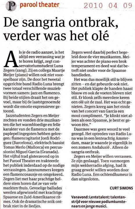 "Review in Dutch newspaper ""Parool"" about ""Radio Luna"""