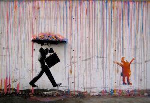 Bansky rainbow rain