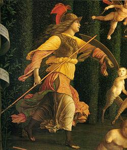 Minerva  in Mantegna Il trionfo della virtù dettaglio.