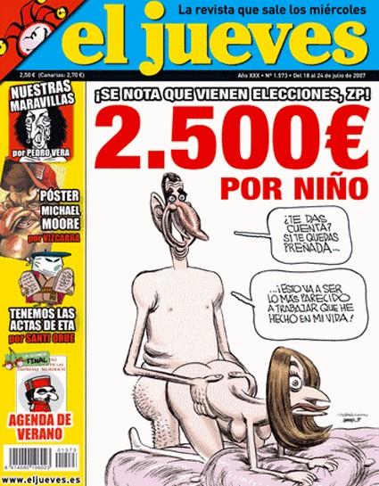 """La copertina della rivista satirica """"el jueves"""" che ritrae il principe Felipe (ora Re) e sua moglie Letizia."""