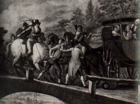 La diligenza del Re è intercettata a Varennes sul ponte dell' Aire, a pochi km dalla frontiera con il Belgio dove Luigi XVI intendeva trovare rifugio