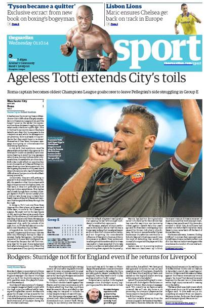 "Totti celebrato da ""The Guardian"""