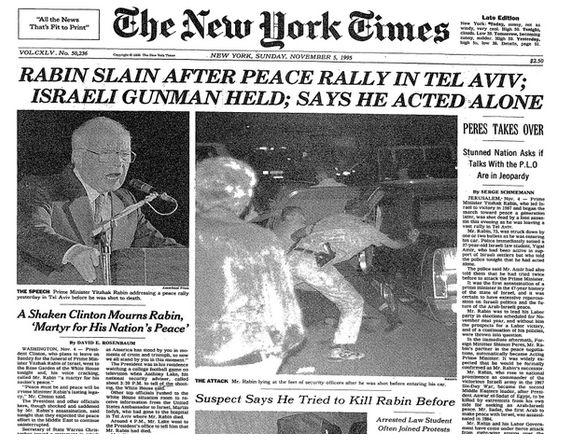 Prima pagina del New York Times del 5 novembre '95