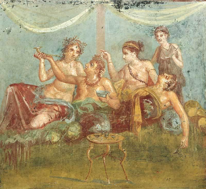Affresco con scena di banchetto, Casa dei casti amanti, Pompei