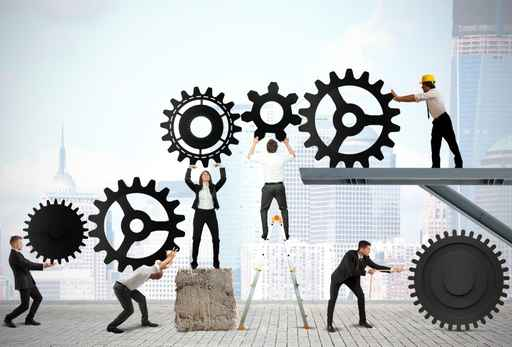 Teamwork of businesspeople
