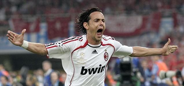 Inzaghi dopo il suo goal nella finale della Champions League 2006/7 vinta dal Milan