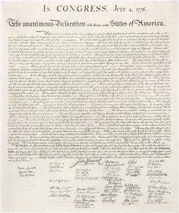 La pergamena della Dichiarazione d'indipendenza degli Stati Uniti d'America