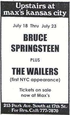 Al Max's potevi vedere Bruce Springsteen e i Wailers la stessa sera