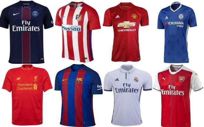 Le magliette di squadre di calcio più vendute nel 2016 a livello mondiale.