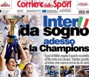 anche il   quotidiano sportivo romano rende onore allo scudetto dell'inter