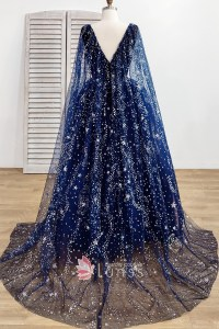 Stunning Starry Night Sky Stars and Moons Beaded Long Navy ...