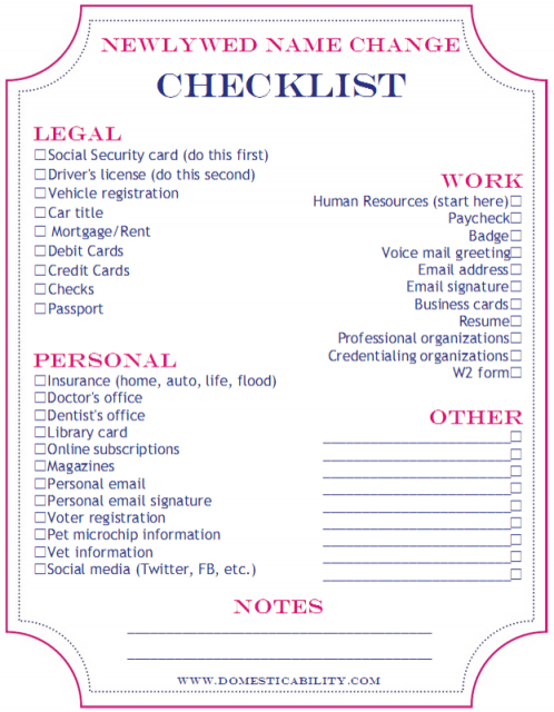 Name Change Checklist for Marriage  Newlywed or Divorce