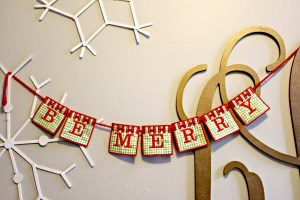 DIY Embroidery Be Merry Banner