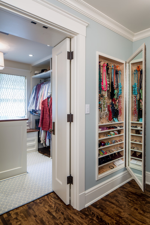 Jewelry Storage Mirror Built in Walk in Closet