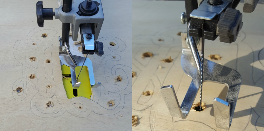 To make center cuts using scroll saw remove the blade and feed it through drill hole