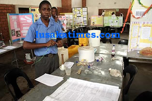 A PUPIL showcases a science project during a fair at Licef school in Lusaka