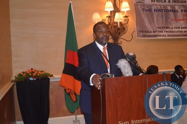 DPP Mutembo Nchito addressing delegates during the 3rd International Association of Prosecutors (IAP) Conference for the Africa-India Ocean Region in Livingstone at Zambezi Sun Hotel