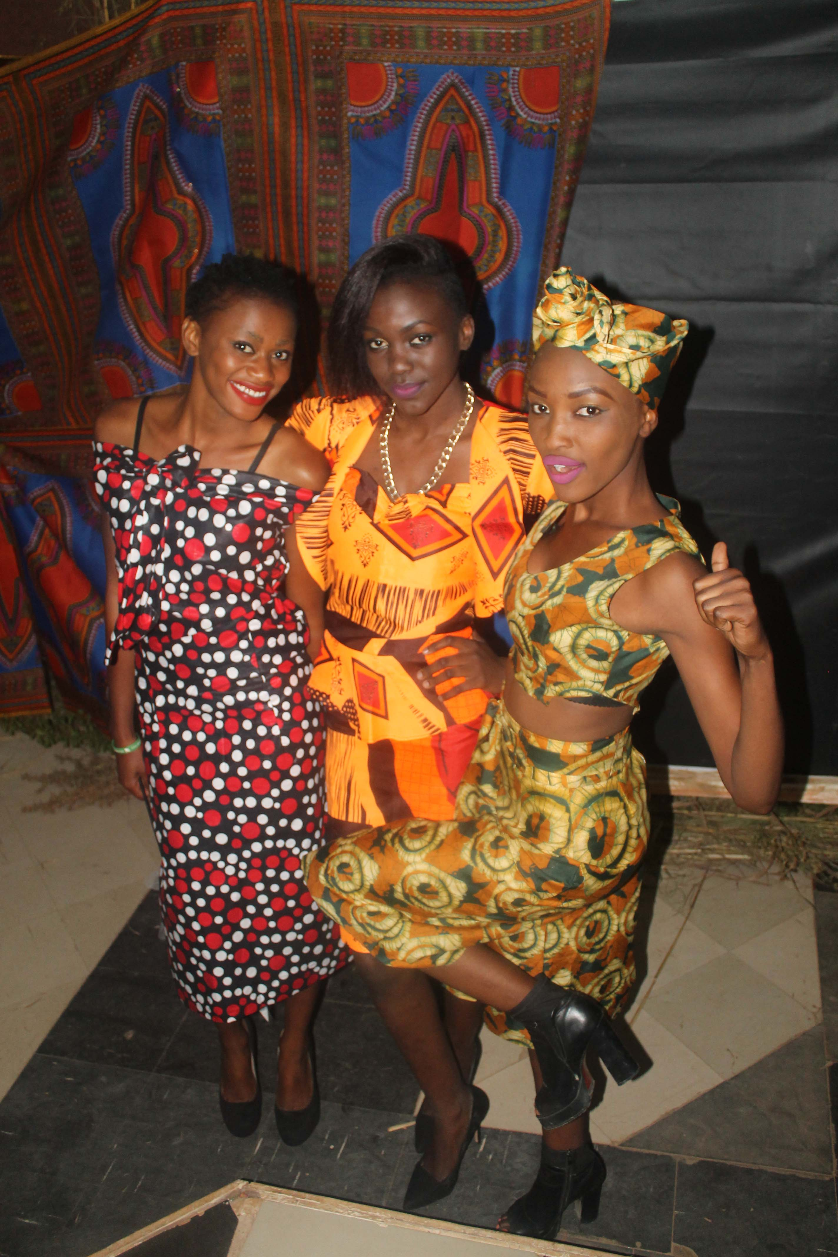 L-R. Mode   l Promise Nambela, Nkumbu Namusamba and Cecilia Kongwa pose at the Afrikawala Fashion Show