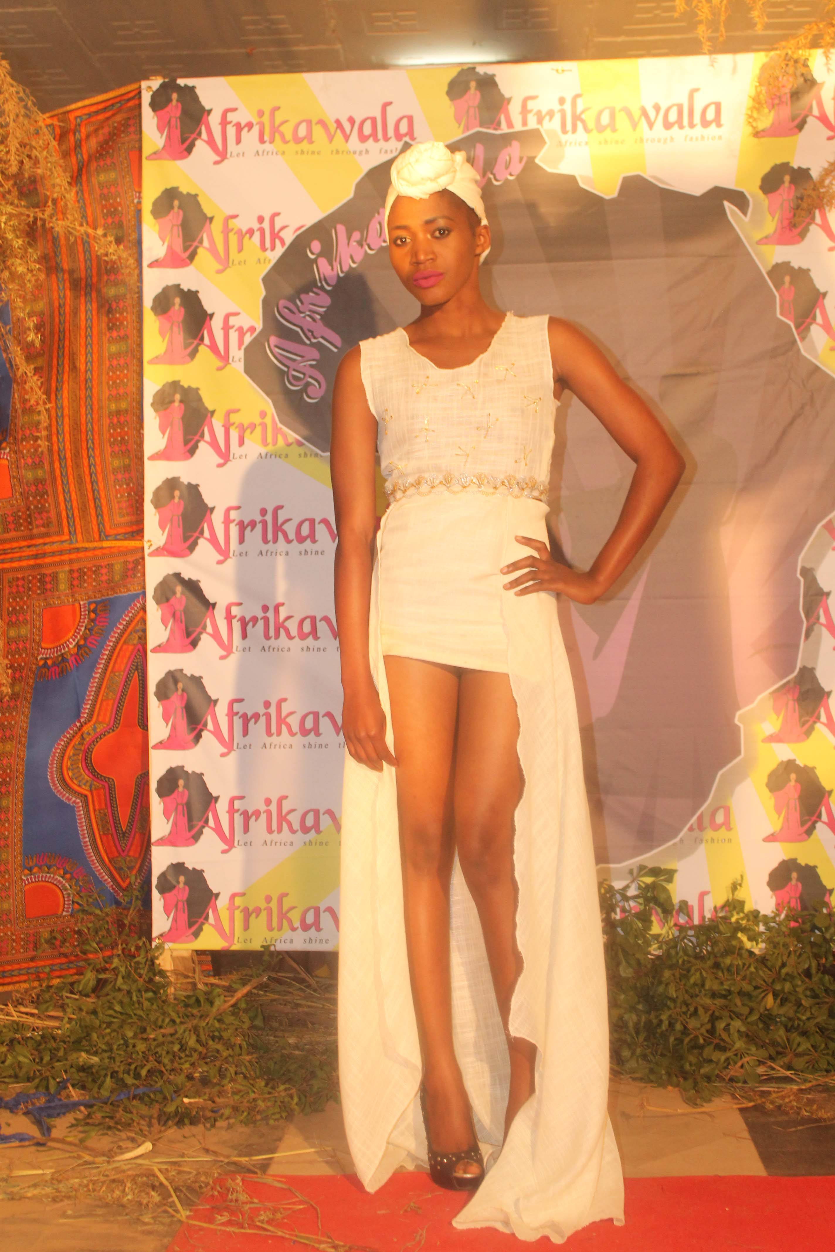 Model Siphiwe Lumbiwe Nawakala at the Afrikawala Fashion Show