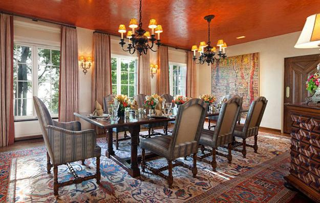Fall Ceiling Wallpaper Design Modern Dining Room Decorating Ideas Orange Paint Colors